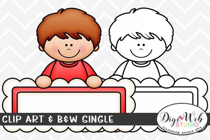 Clip Art & B&W Single - Topper Boy w/ Blank Header