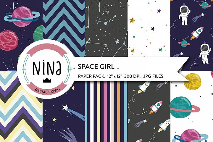 Space girl digital paper, Outer space, astronauts, planets