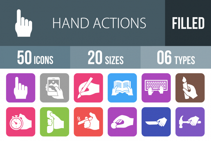 50 Hand Actions Filled Round Corner Icons