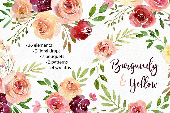 Boho Watercolor Flowers Wreaths Patterns Arrangements PNG Rustic Collection