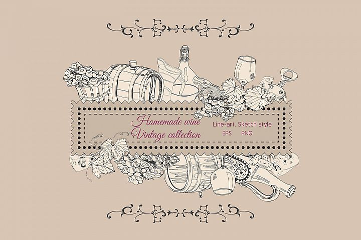 Vintage clipart of items of wine product. Hand drawn sketch.