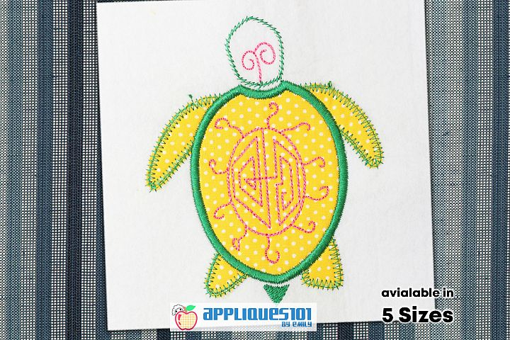 Cartoon Turtle Embroidery Applique Design - Turtles