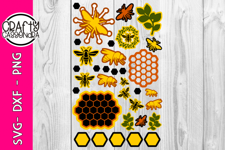 Bee svg files - Honey Bee svg and honeycomb theme - dxf file