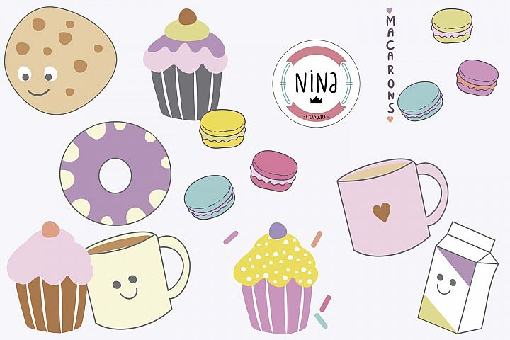 Sweet Bakery Clip Art, 10 PNG files, Cupcakes and macarons