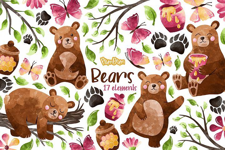 Bears Watercolor Cliparts