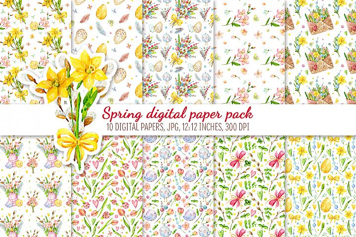 Digital Scrapbook Paper Pack. Hello spring