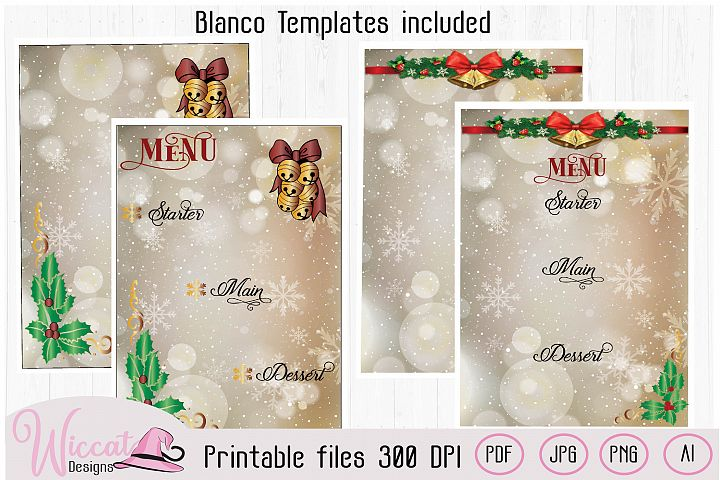 Christmas menu template, blanco christmas template
