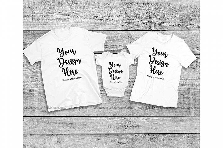 Matching Family White T-Shirts Mockup, Baby Bodysuit Set