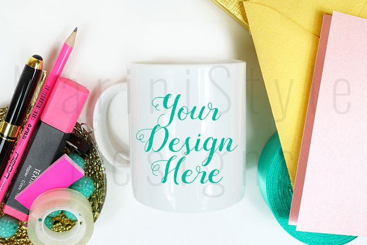 Coffee Mug Mockup, Colorful Feminine Styled Office desk, 384