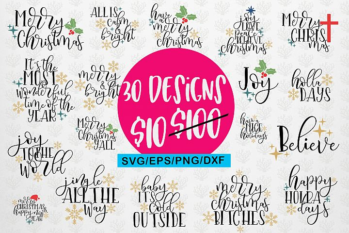 Christmas Svg Quote & Sayings Bundle - Svg Eps Png Jpeg