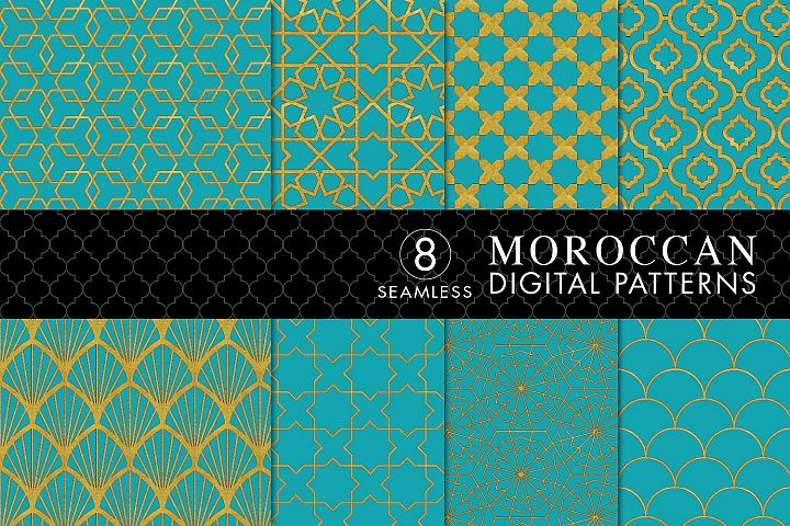 8 Seamless Moroccan Patterns - Gold & Cobalt Blue