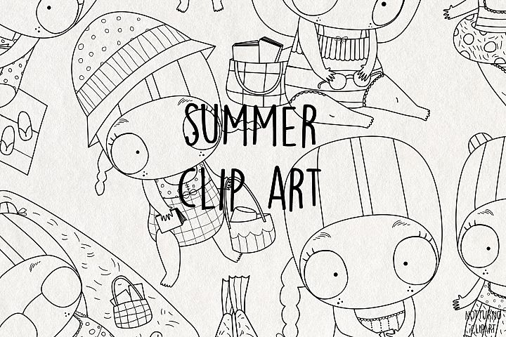 Summer SVG Clipart. Black and White clip art