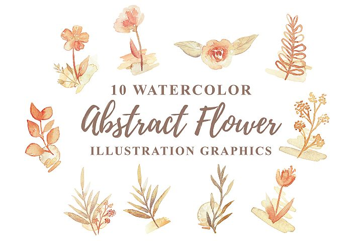 10 Watercolor Abstract Flower Illustration Graphics