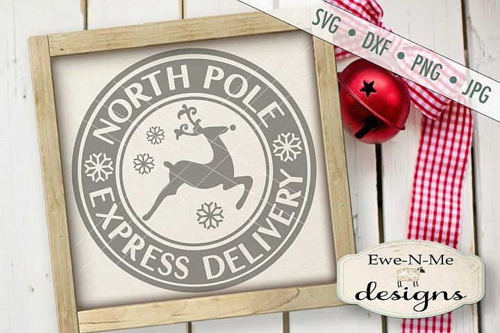 North Pole Delivery Reindeer Christmas SVG DXF Files