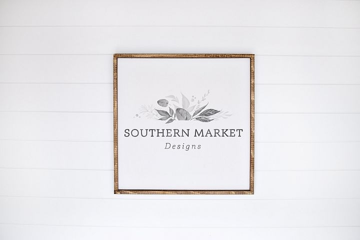 24x24 Wood Sign Mock Up Styled Stock Photo