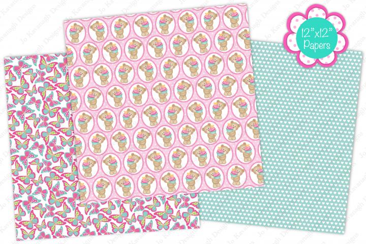 Cute bear digital papers, Cute bears, Floral, Butterfly example 3