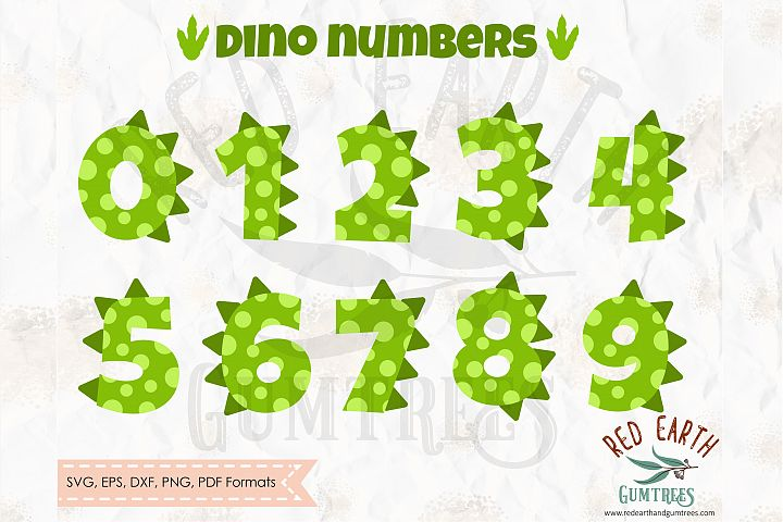 Dinosaur numbers spots and spikes, Trex SVG,DXF,PNG,EPS,PDF