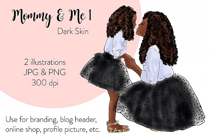 Fashion illustration - Mommy & Me 1 - Dark Skin