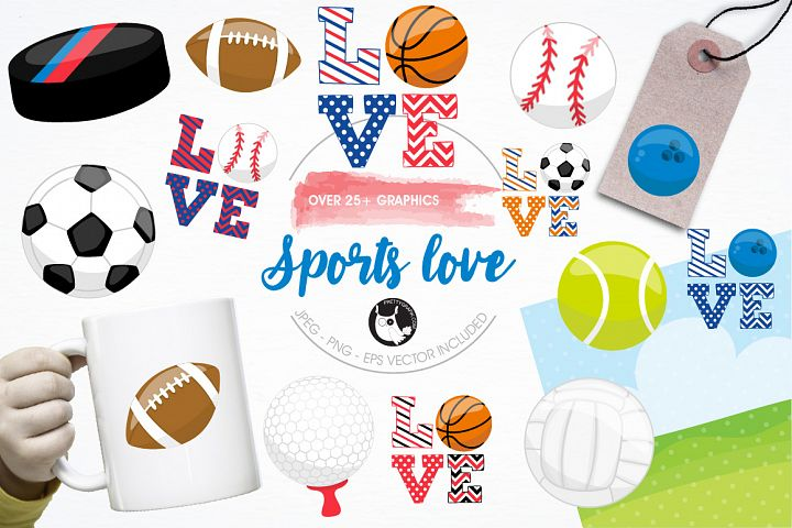 Sports love graphics and illustrations