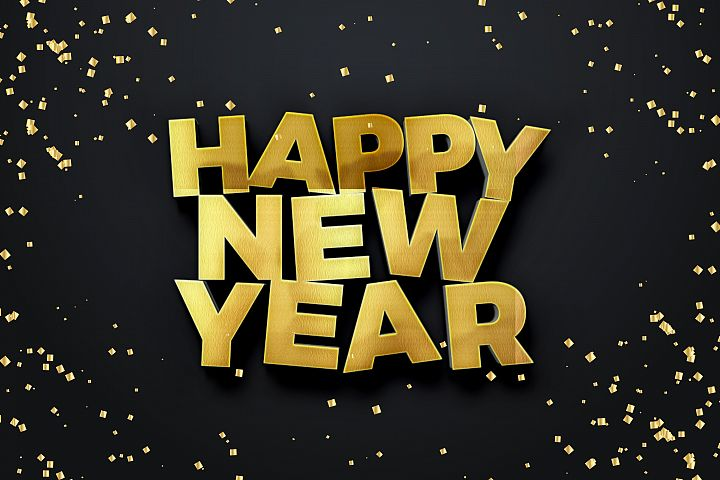 Happy New Year 2018 Text Mock Up