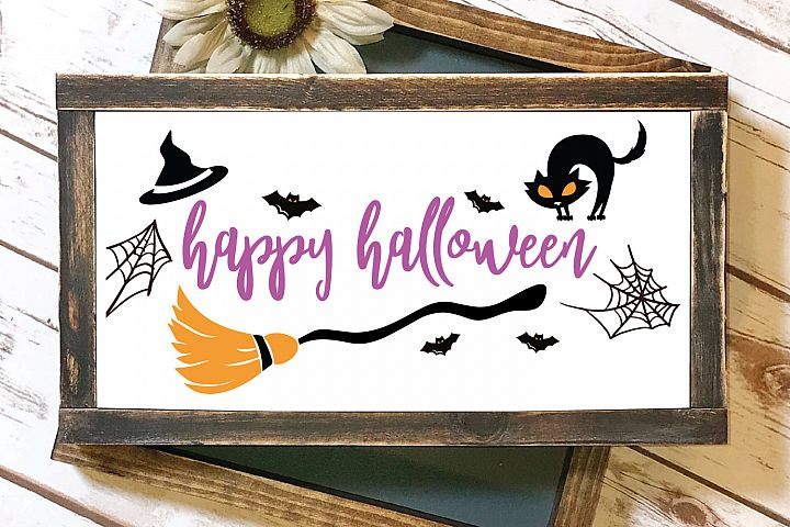 Happy Halloween Witch Spiderweb SVG and EPS Silhouette Files