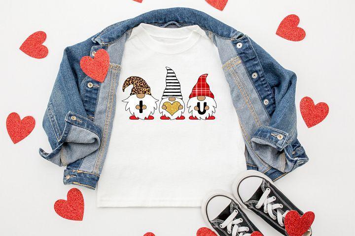 Valentines Sublimation Design - Gnome SVG -I Heart U