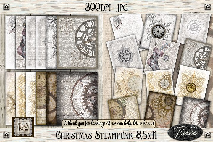 NEW! Christmas Steampunk 8.5x11 Tags Bookmark Gifts