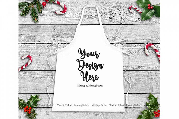 Christmas White Apron Mockup, Chef Apron Template Mock Up