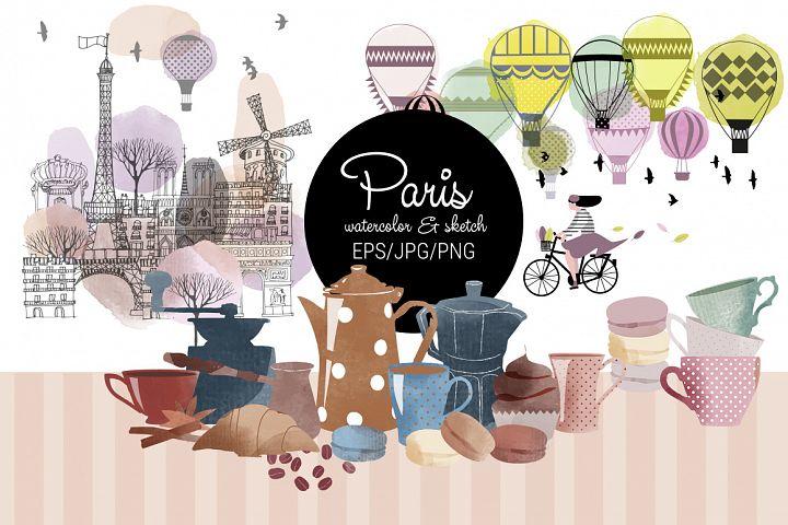 Paris. Watercolor & sketch.