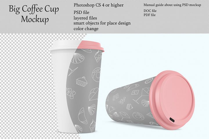 Big coffee cup mockup. Product place. PSD object mockup.