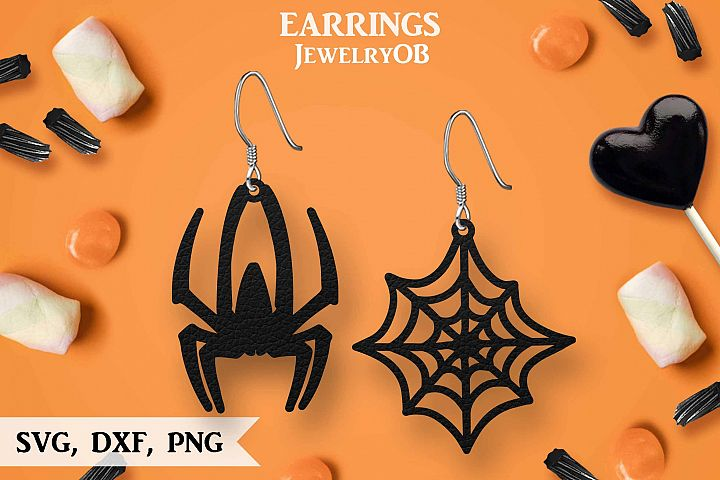 Halloween Earrings, Cut File, SVG DXF PNG Formats, Spider