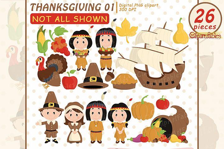 Happy Thanksgiving Day clipart, turkey, autumn art - INSTANT