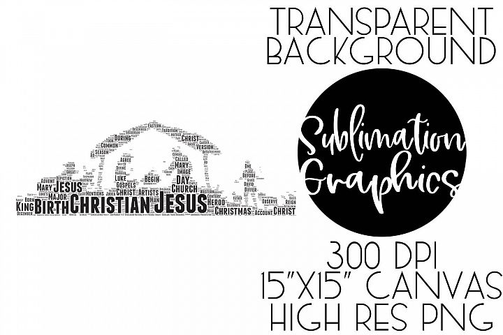 Manger Scene Typography Sublimation Digital Download