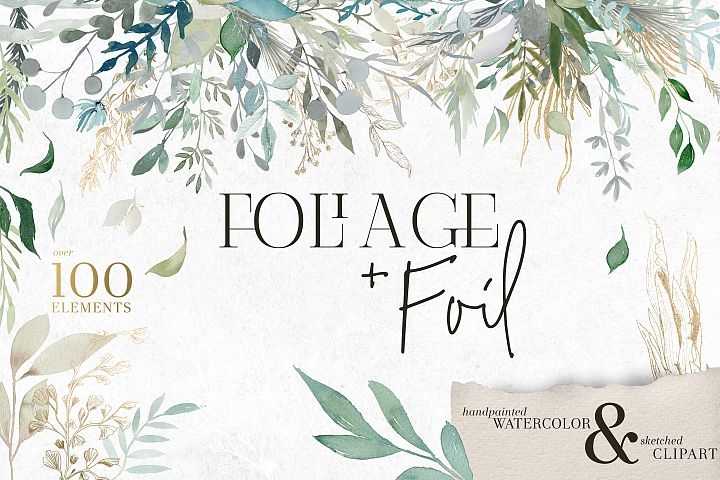 Foliage and Foil Botanical Clipart