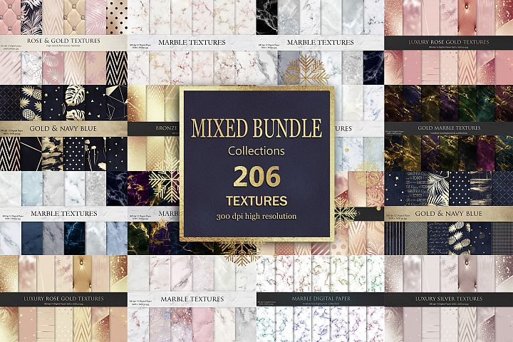 Marble Rose Gold Navy Blue Mixed Bundle 206 Textures