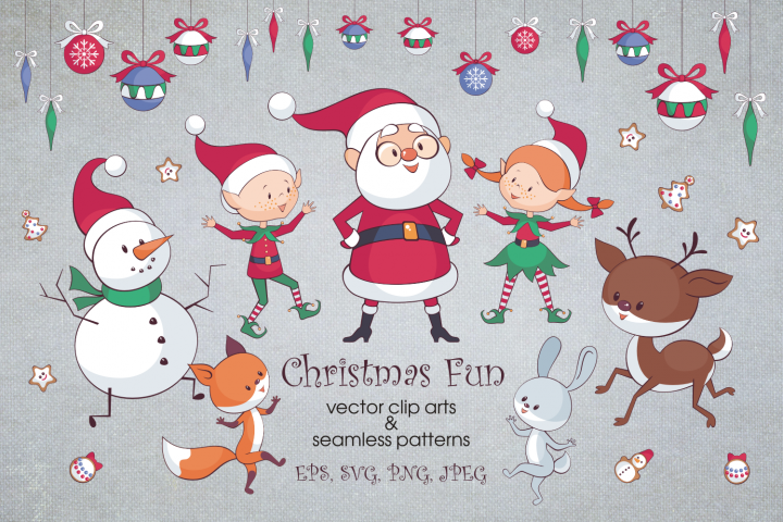Christmas fun. Vector clip arts and seamless patterns