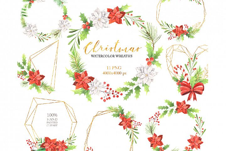 Watercolor Christmas Floral Wreaths Set