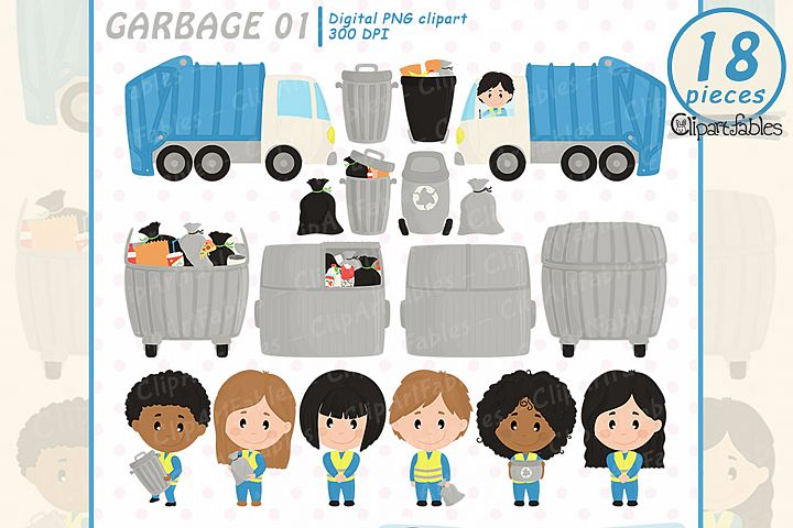 Cute GARBAGE collector clipart, trash art - INSTANT download