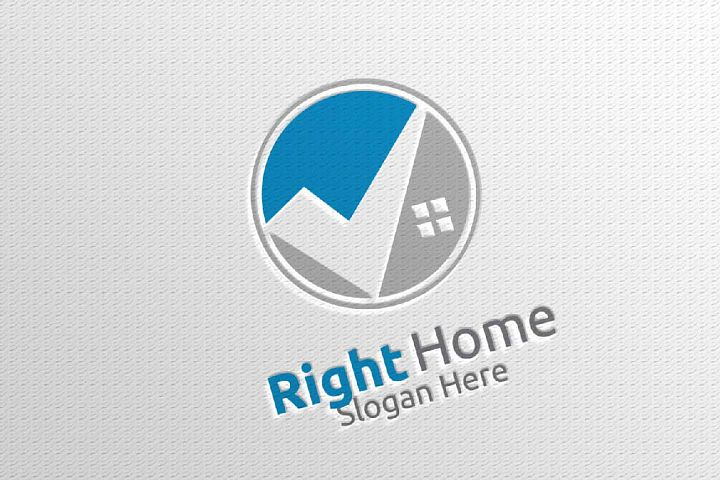 Real Estate Vector Logo Design with Home and Check Logo 5