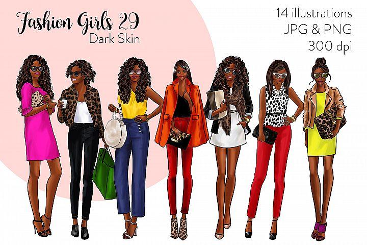 Fashion illustration clipart - Fashion Girls 29 - Dark Skin