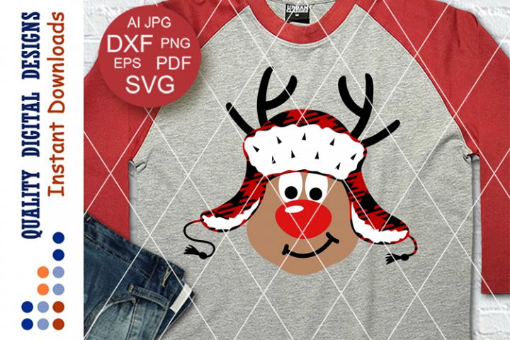 Reindeer with Red Nose svg Buffalo Plaid Rudolph Christmas