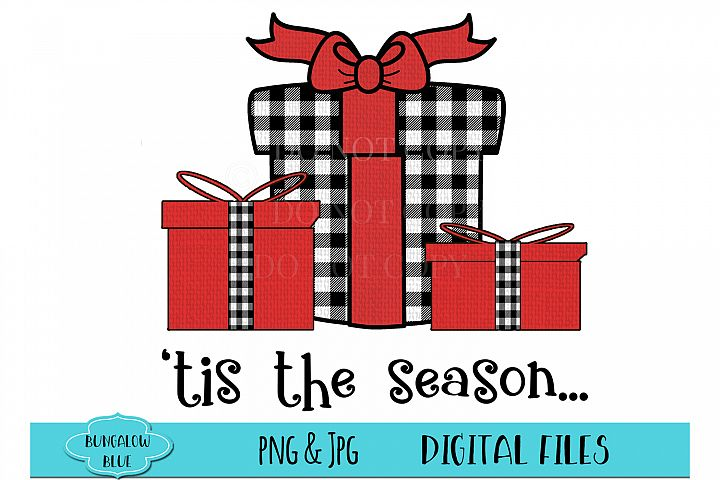 Christmas Presents Tis the Season Buffalo Plaid Download example image 1
