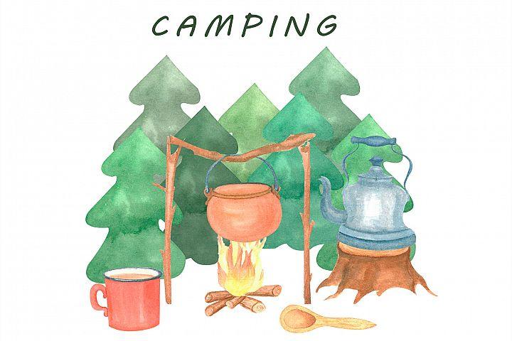 Camping, Postcard