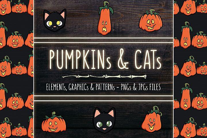 PUMPKINs, CATs & BATs - Illustrations and Patterns