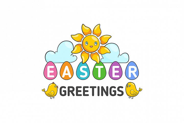 Vector Happy Easter Label. Cute Holiday spring Badge