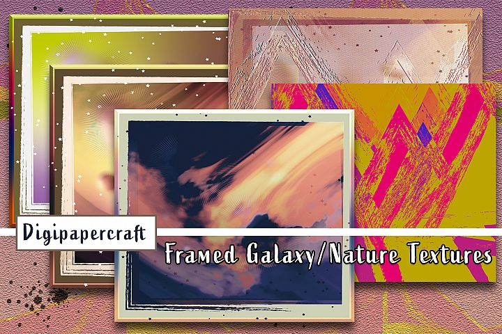 Abstract Galaxy & Nature Scrapbook Paper. Grunge Textures