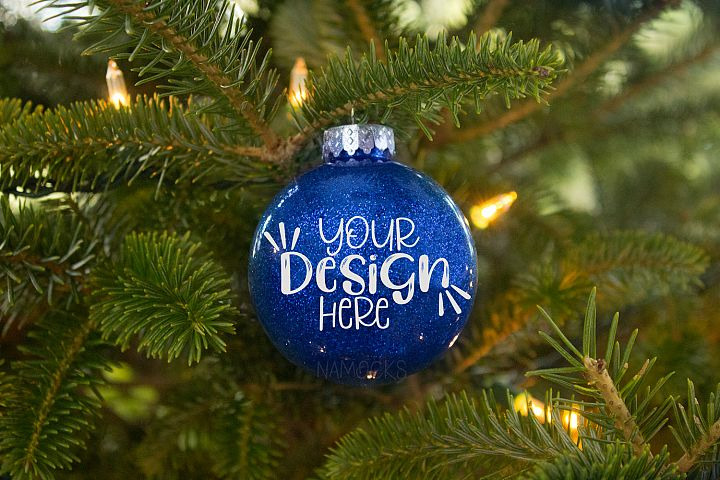Blue Glitter Ornament Mockup for Crafters
