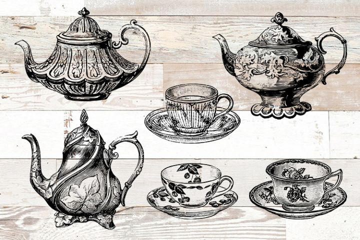 Coffee Tea Vintage Bundle PNG, EPS, SVG Vector