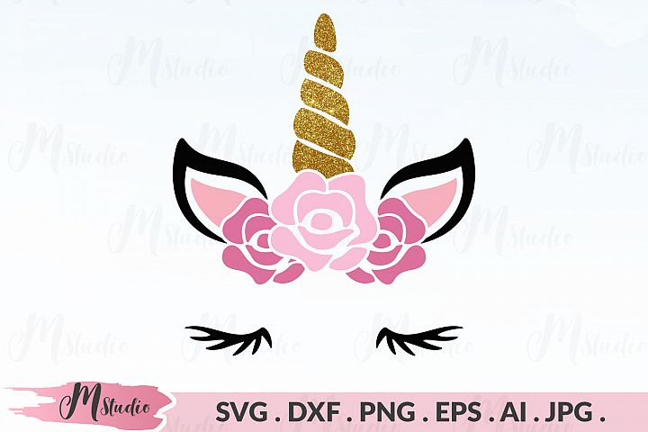 Unicorn face floral svg