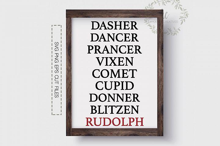Reindeer Names SVG, Rudolph SVG, Christmas Cut File, Cricut